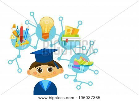 Cute Liitle Boy Weating Graduation Cap And Gown Happy Cartoon Kid Scientist Flat Vector Illustration