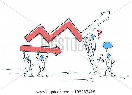 Business People Group Building Finance Graph With Arrow Up Analysis Financial Progress Success Concept Doodle Vector Illustration