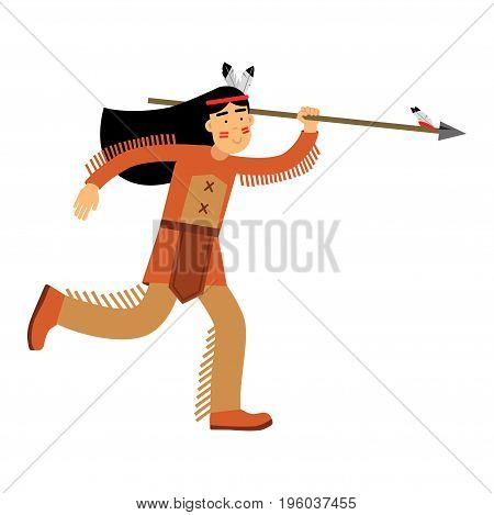 Native american indian girl in traditional costume running with spear vector Illustration isolated on a white background