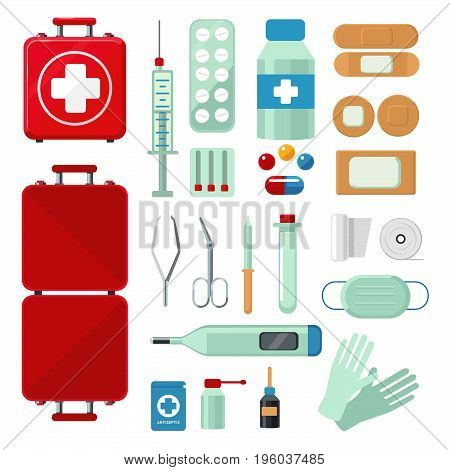 First aid kit. Set with medical equipment. Flat style icons isolated on white.