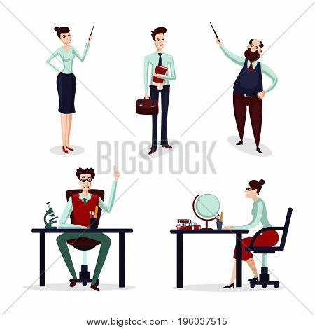 Teachers icon set. Male and female cartoon characters isolated on white. Group of talking lecturer.