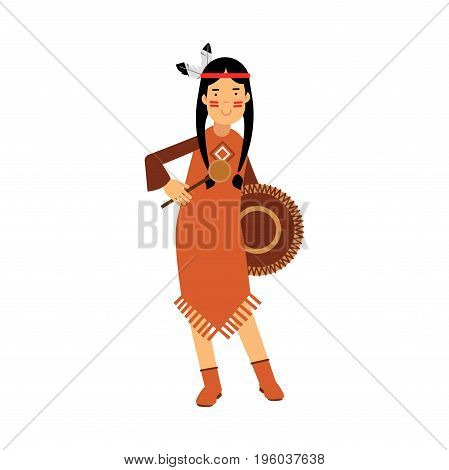 Native american indian girl in traditional costume playing on a tambourine vector Illustration isolated on a white background