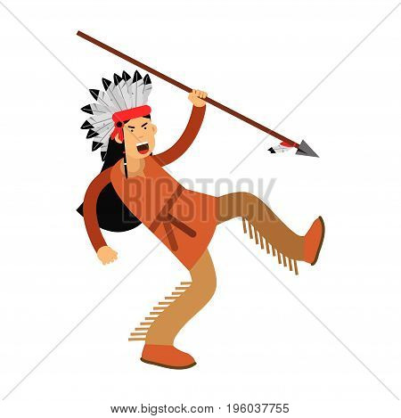 Native american indian in traditional costume and headgear running with spear vector Illustration isolated on a white background