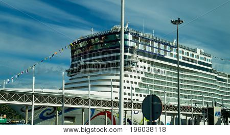 Norwegian Epic, Norwegian Cruise Line - Barcelona Cruise Port, Spain - 14 May 2017: Norwegian Cruise Line ship at Barcelona terminal.