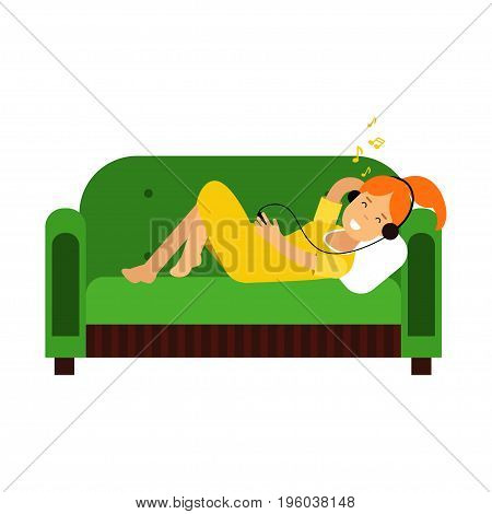 Young redhead girl in yellow dress lying on green sofa and listening to music on headphones vector Illustration isolated on a white background