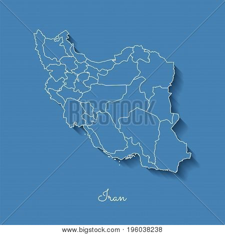 Iran Region Map: Blue With White Outline And Shadow On Blue Background. Detailed Map Of Iran Regions