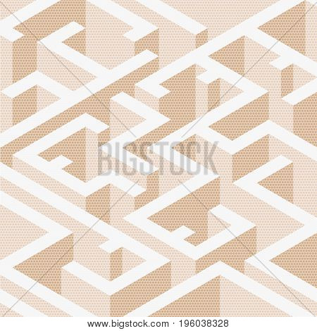 Abstract background in isometric style. A geometric maze. Texture of halfones.