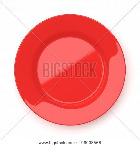 Empty red ceramic round plate isolated on white background