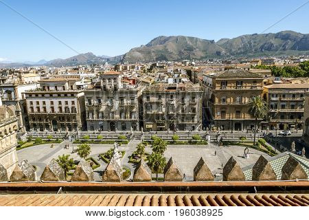 Palermo.Italy.May 26 2017.View of the historic centre and the area in front of the Cathedral Santa Maria Assunta from the roof in Palermo. Sicily