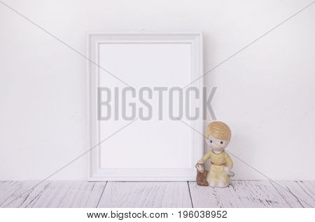 Stock Photography Of Retro White Frame Template Vintage Wood Table And Cute Ceramic Doll