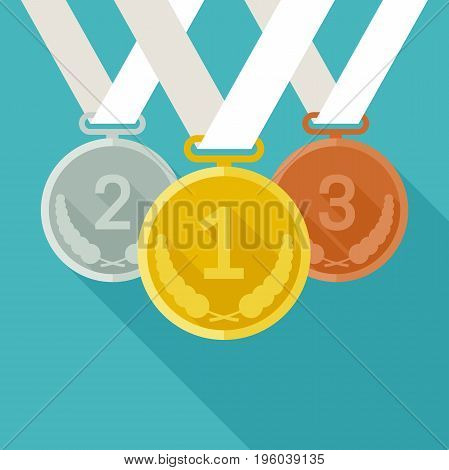 Medals with long shadow. Vector banner with medals from gold, silver and bronze in flat style.
