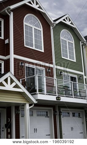 Three-storied colourful modern residential townhouses in Summerside, Prince Edward Island, Canada