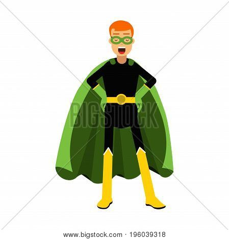 Young confident redhead man in classic superhero costume and a green cape vector Illustration isolated on a white background