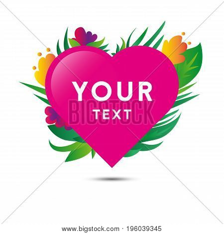 Heart with plants and flowers. Wedding invitation. Vector.