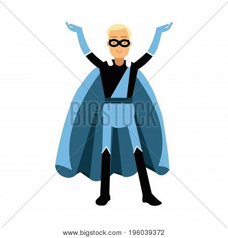 Young smiling masked man in a blue superhero costume vector Illustration isolated on a white background