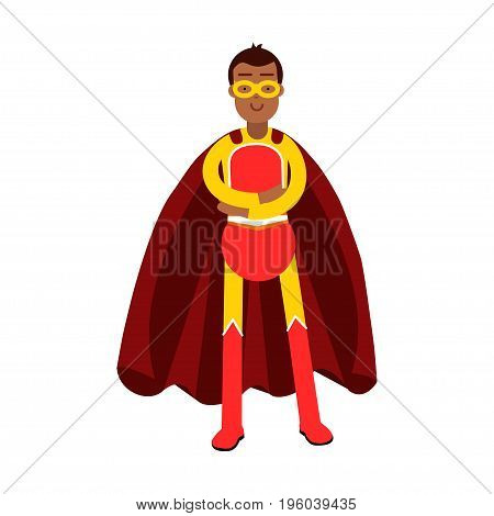 Young smiling masked man in a red superhero costume standing with folded arms vector Illustration isolated on a white background