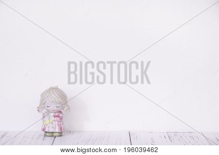 Stock Photography Retro White Wall Wooden Vintage Paint Floor And Ceramic Doll Toy Cute Girl