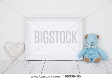 Stock Photography White Frame Vintage Painted Wood Table Cute Blue Bear Heart Retro Craft