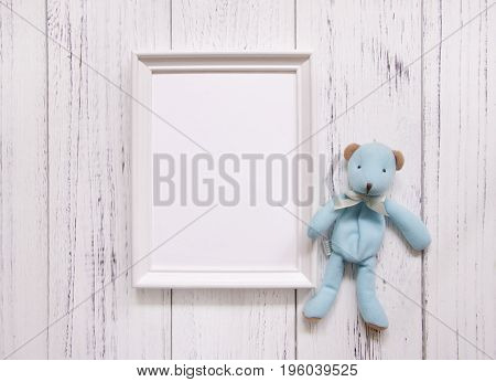 Stock Photography White Frame Vintage Painted Wood Floor Blue Cute Bear Doll Template Background