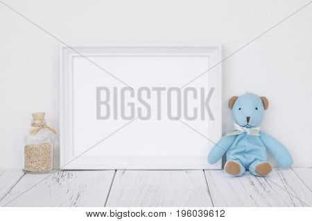 Stock Photography White Frame Vintage Painted Wood Table Cute Blue Bear Glass Bottle With Sand Insid