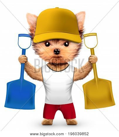 Funny dog in hard had with shovel isolated on white background. Constructor and handyman concept. Realistic 3D illustration