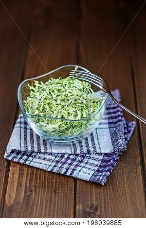 Cabbage salad. Glass Bowl. Copy space. The concept is healthy food diet vegan.