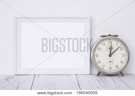 Stock Photography White Frame Vintage Painted Wood Table Antique Alarm Clock