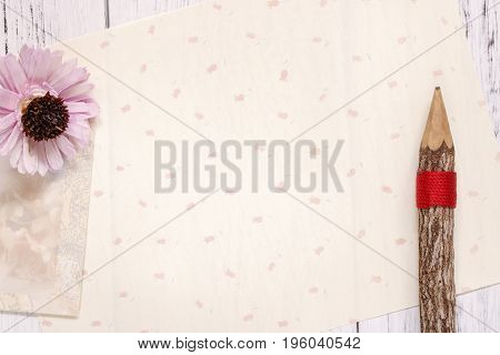 Stock Photography Flat Lay Text Letter Envelope Purple Flower Pencil