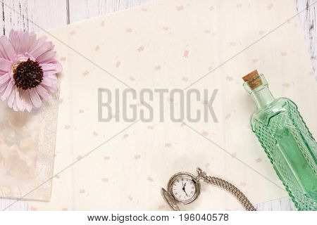 Stock Photography Flat Lay Text Letter Envelope Flower Glass Bottle And Pocket Clock