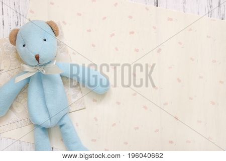 Stock Photography Flat Lay Text Letter Envelope Cute Blue Bear