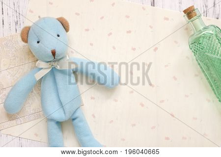 Stock Photography Flat Lay Text Letter Envelope Cute Blue Bear Glass Bottle