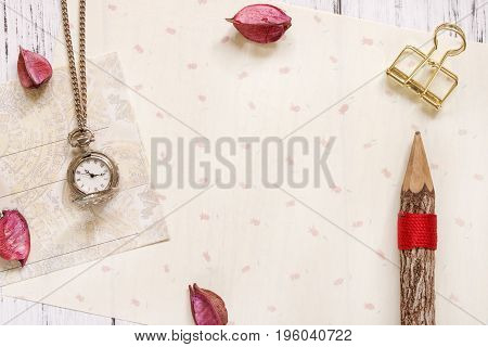 Stock Photography Flat Lay Text Letter Envelope Pocket Clock And Pencil Gold Clip