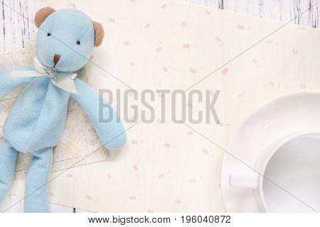 Stock Photography Flat Lay Text Letter Envelope Coffee Cup Cute Blue Bear Doll