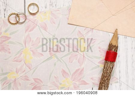 Flat Lay Stock Photography Flower Pattern Letter Envelope Rings Wood Pencil
