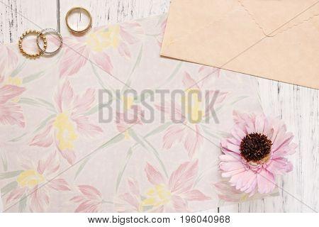 Flat Lay Stock Photography Flower Pattern Letter Envelope Rings Purple Flower Petals