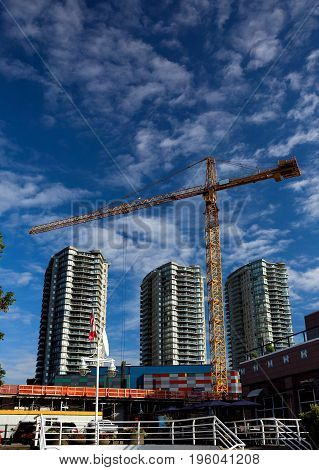 New construction of high-rise buildings in New Westminster city