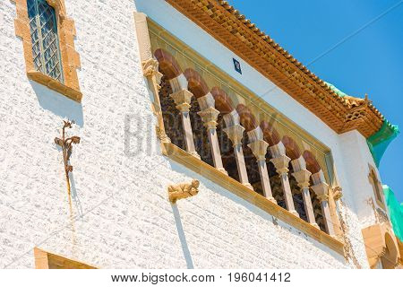 Beautiful facade of the building in Sitges Barcelona Catalunya Spain.