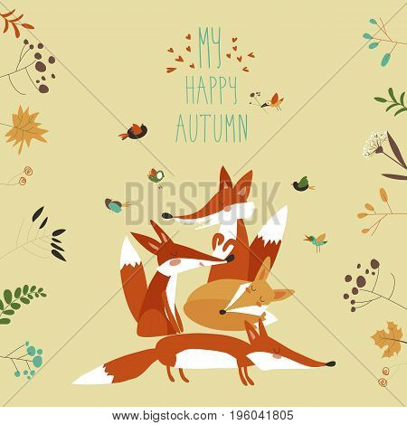 Cute foxes with autumn leaves and plants. Vector illustration