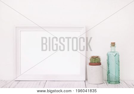 Stock Photography Of Retro White Frame Template Vintage Wood Table And Cactus Glass Bottle