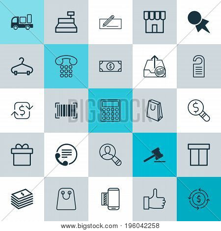 E-Commerce Icons Set. Collection Of Box, Shop, Till And Other Elements