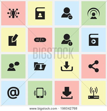 Set Of 16 Editable Global Icons. Includes Symbols Such As Mail Symbol, Song List, Connection And More
