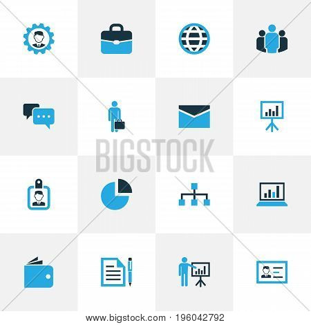 Business Colorful Icons Set. Collection Of Businessman, Dialog, Globe And Other Elements