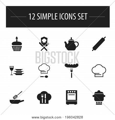 Set Of 12 Editable Cooking Icons. Includes Symbols Such As Frying Pan, Oven, Plates With Glass And More