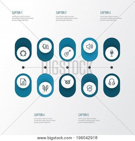 Audio Outline Icons Set. Collection Of Cover, Template, Strings And Other Elements
