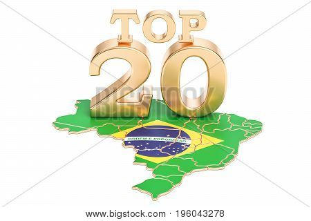 Brazilian Top 20 concept 3D rendering isolated on white background