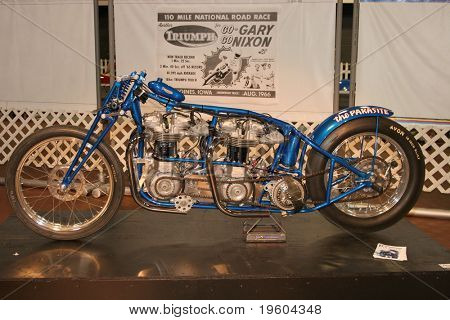 PHILADELPHIA, PA - SEPT 2: Simeone  Museum shows a twin engine Triumph motorcycle  dragster called the Parasite, that broke speed records back in the mid 1950's. September 2, 2010 in Philadelphia.