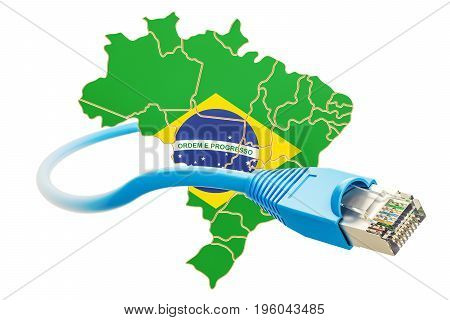 Internet connection in Brazil concept. 3D rendering isolated on white background