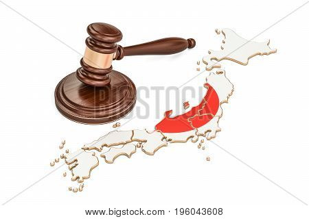 Wooden Gavel on map of Japan 3D rendering isolated on white background