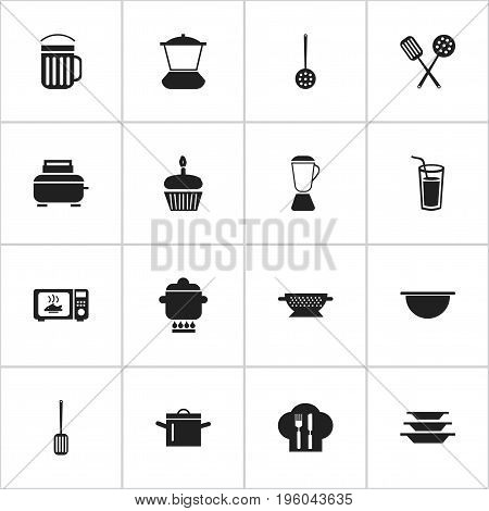 Set Of 16 Editable Kitchen Icons. Includes Symbols Such As Toaster, Muffin, Mixer And More