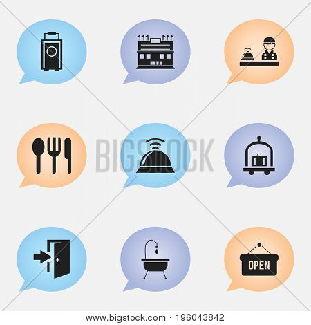 Set Of 9 Editable Hotel Icons. Includes Symbols Such As Service Bell, Check In, Opened Placard And More